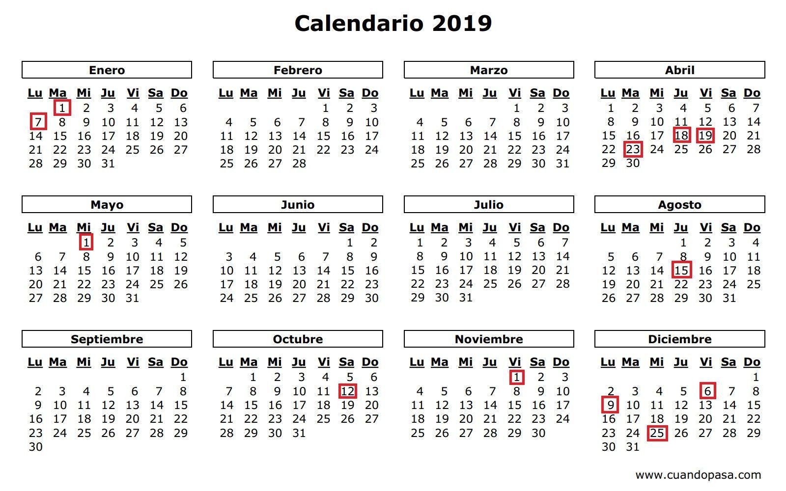 Calendario Laboral Ceuta 2019.El Calendario Laboral De 2019 Recoge 12 Dias Festivos Solo 8