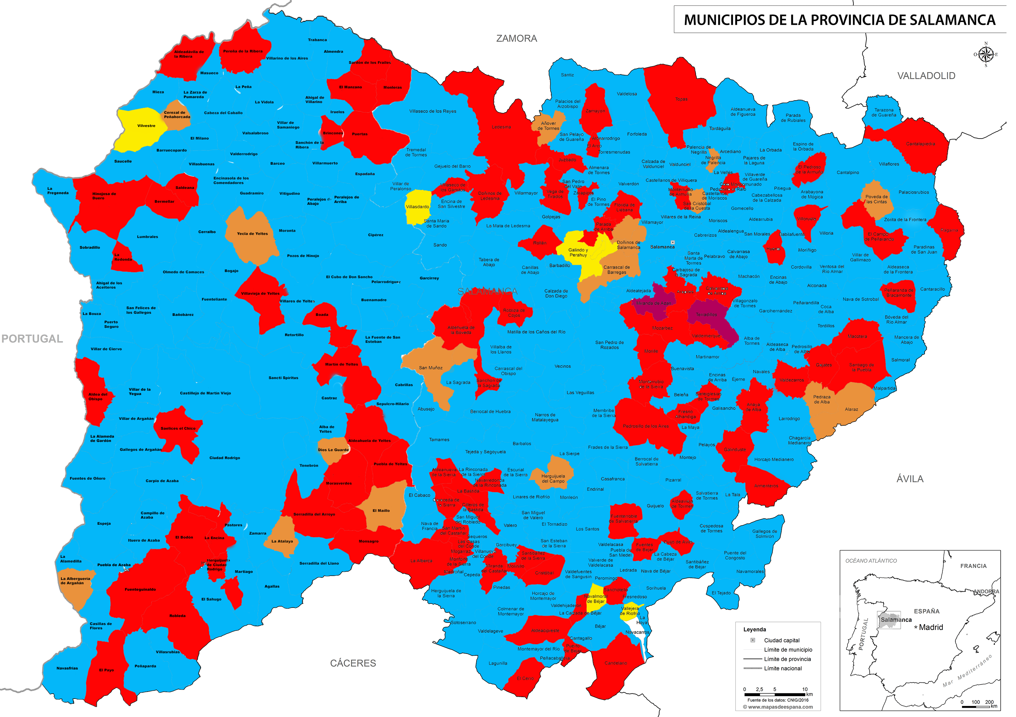 Provincia De Salamanca Mapa.La Provincia Se Tine De Azul En Un Mapa Con Cinco Colores
