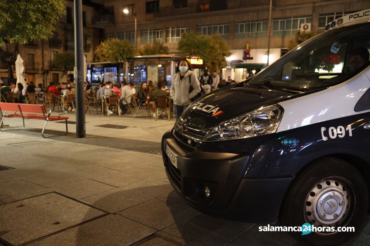 Covid Policía Nacional coronavirus Gran Vía plaza de San Julián 3