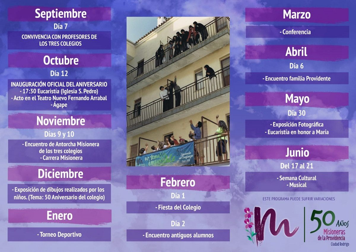 Programa aniversario Misioneras de la Providencia