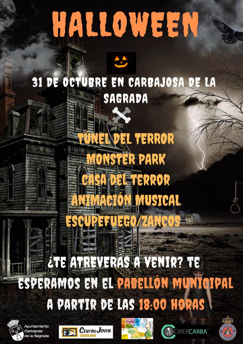 Cartel Halloween logo blanco