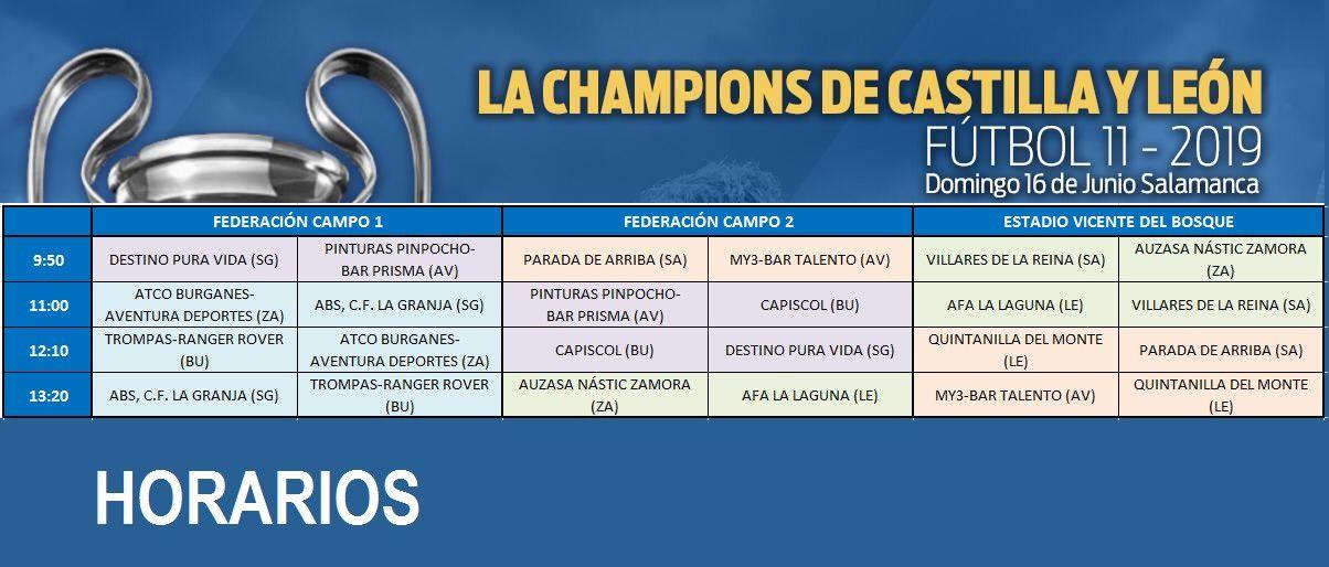 HORARIOS LA CHAMPIONS