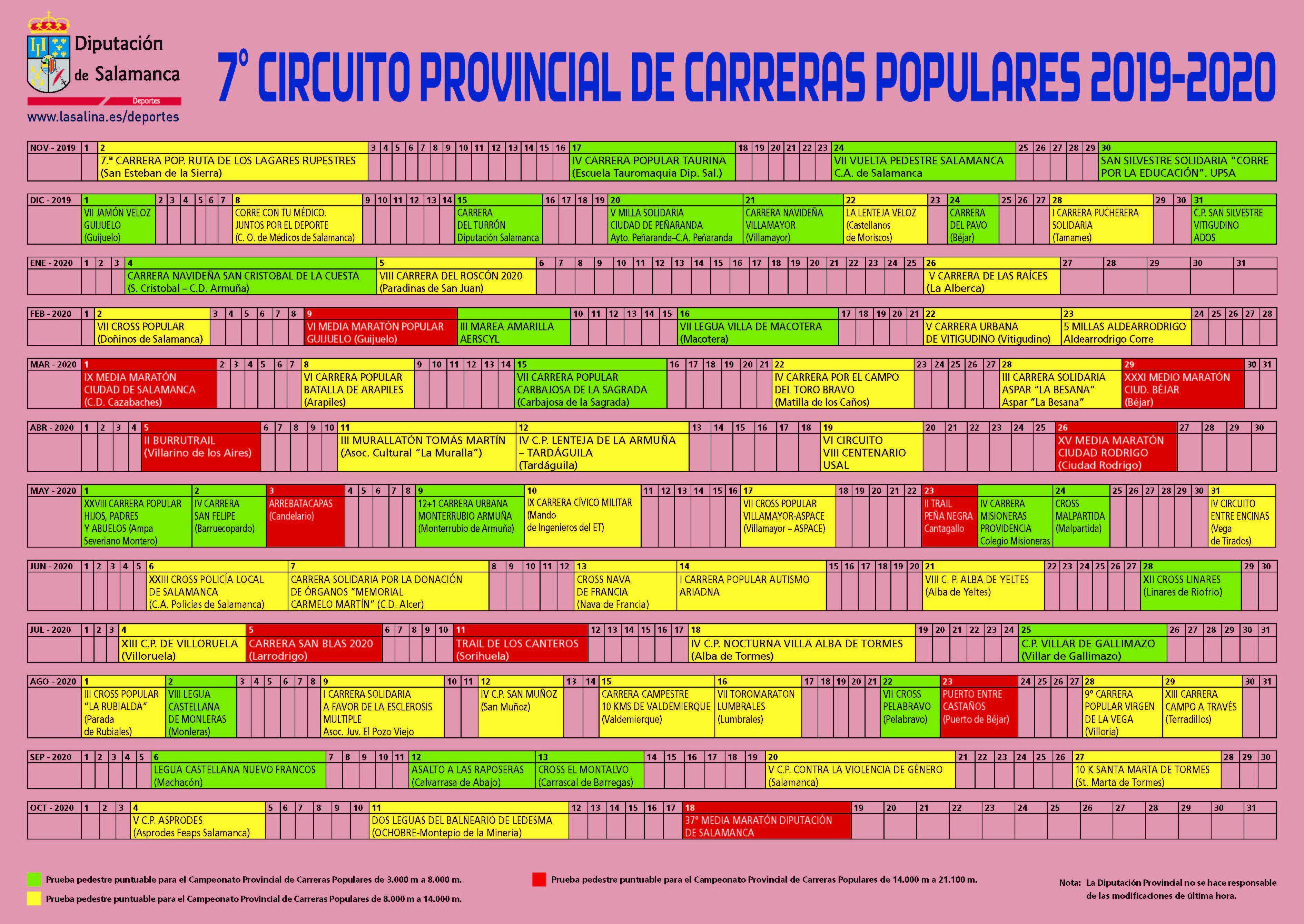 Calendario Circuito Carrera 2019 2020