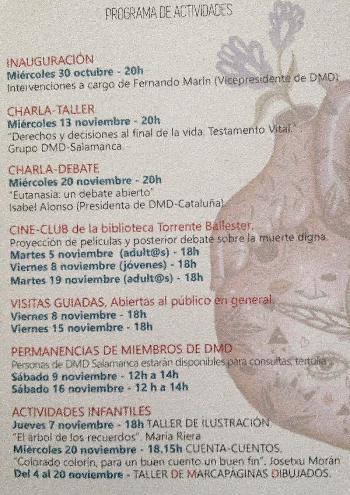 Programa actividades 'Derecho a Morir Dignamente'