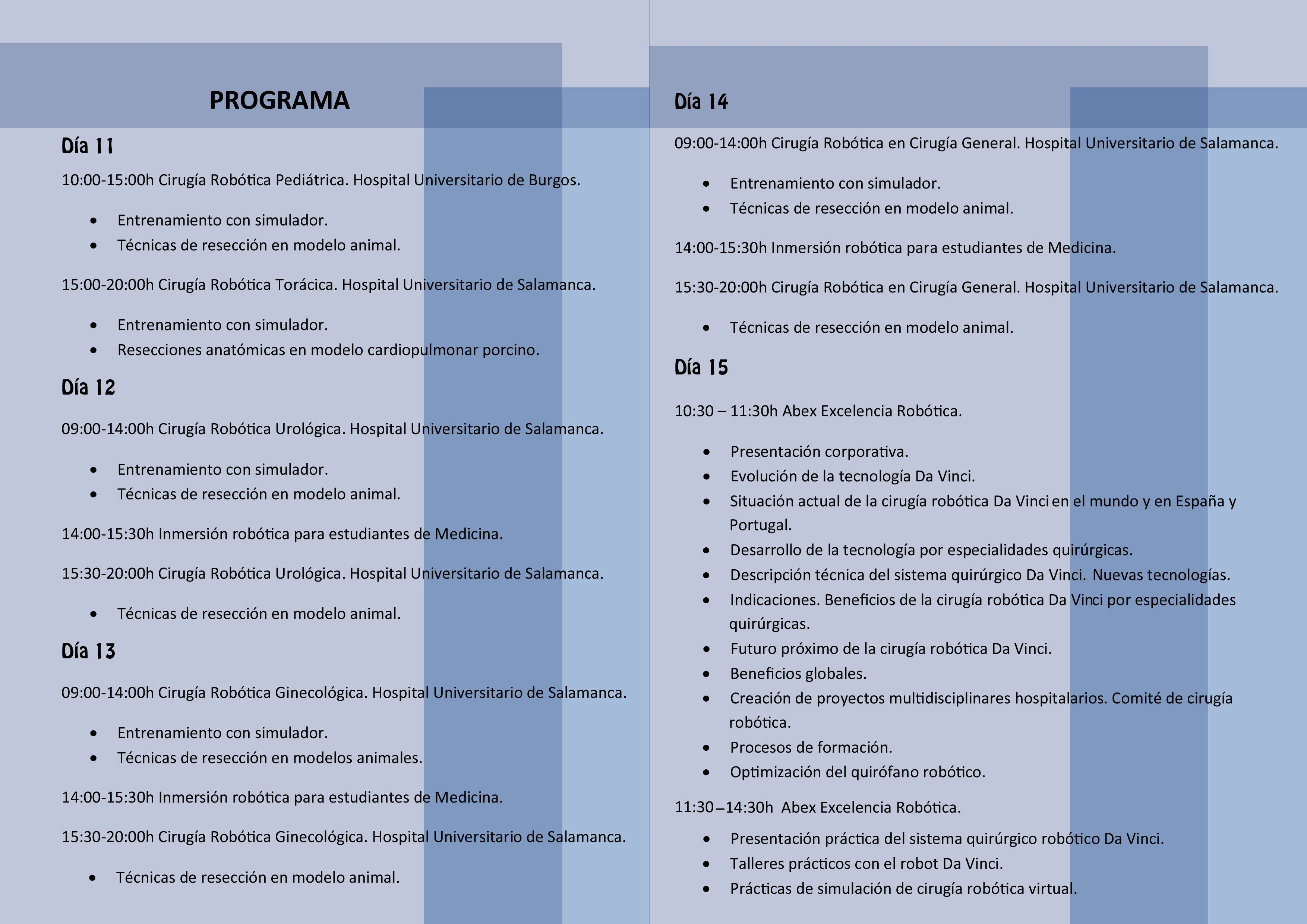 Programa I Jornadas de Cirugu00eda Robu00f3tica de CyL 2