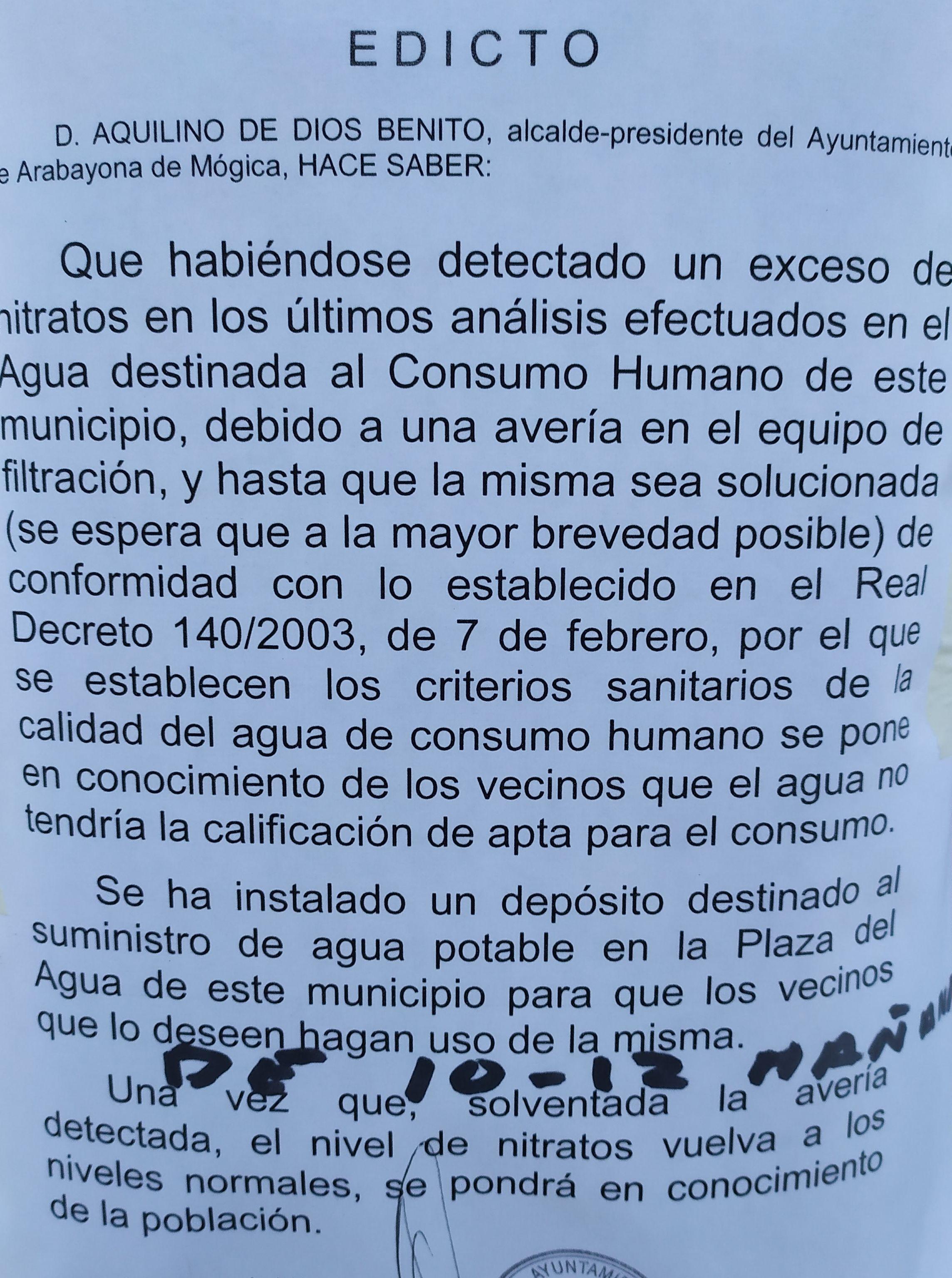 Afecciones agricolas al agua de consumo humano en la comarca