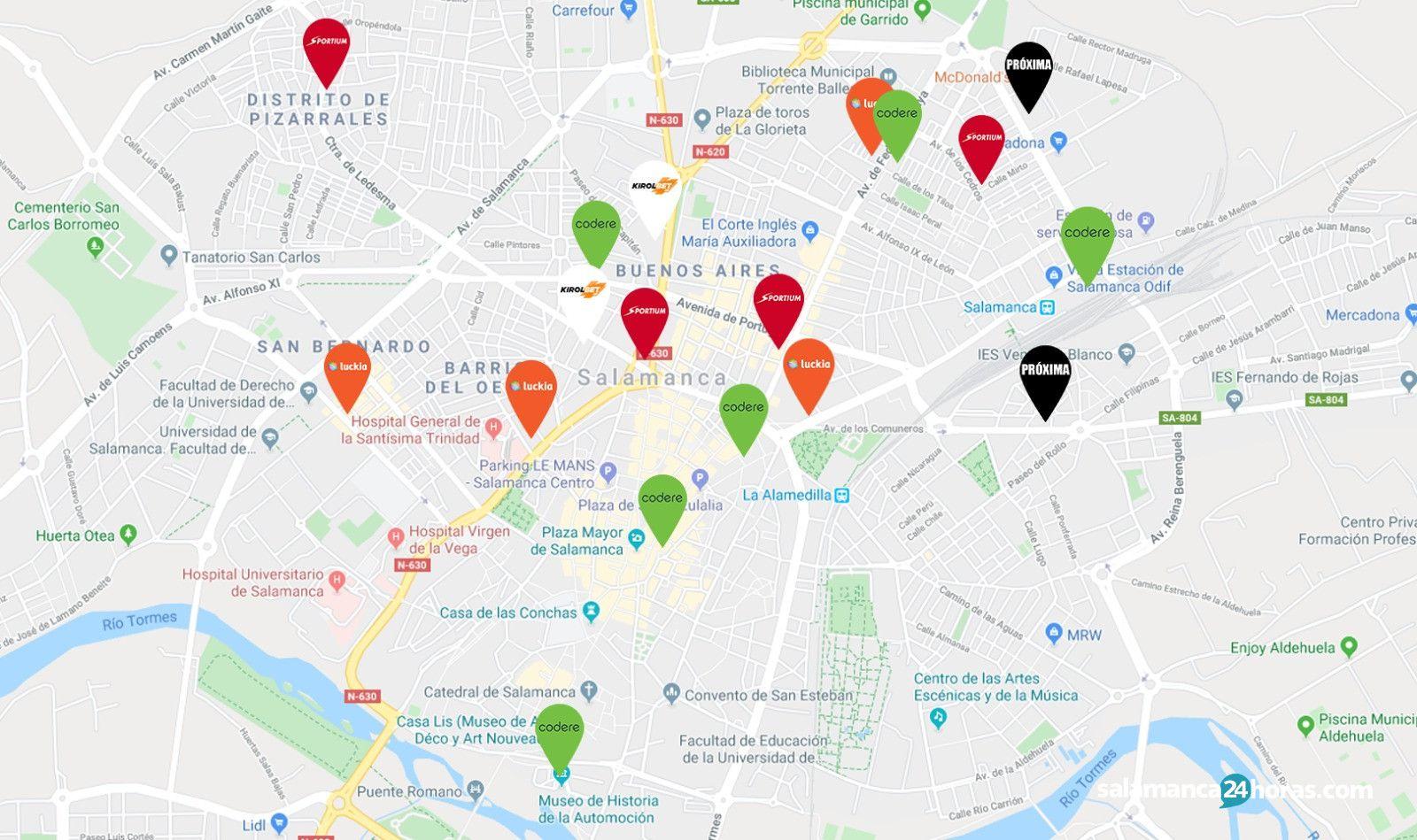 mapa de casas de apuestas de Salamanca