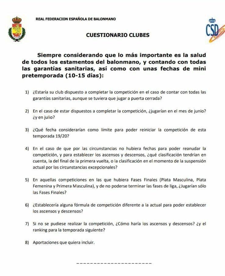Cuestionario clubes Real Federaciu00f3n Espau00f1ola de Balonmano