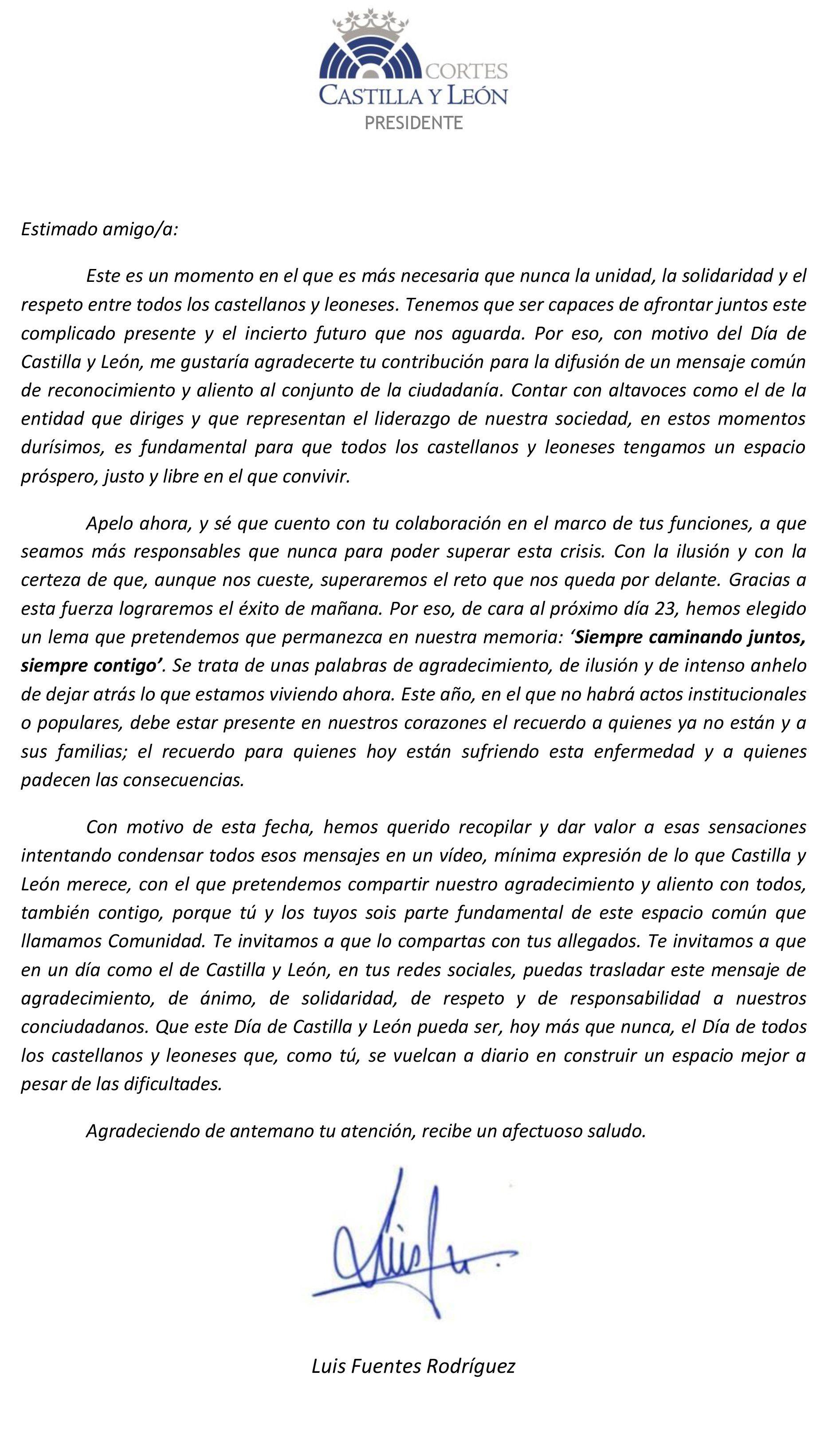 CARTA PRESIDENTE DE LAS CORTES CyL