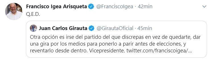 Tuit de Francisco Igea en respuesta a Juan Carlos Girauta.