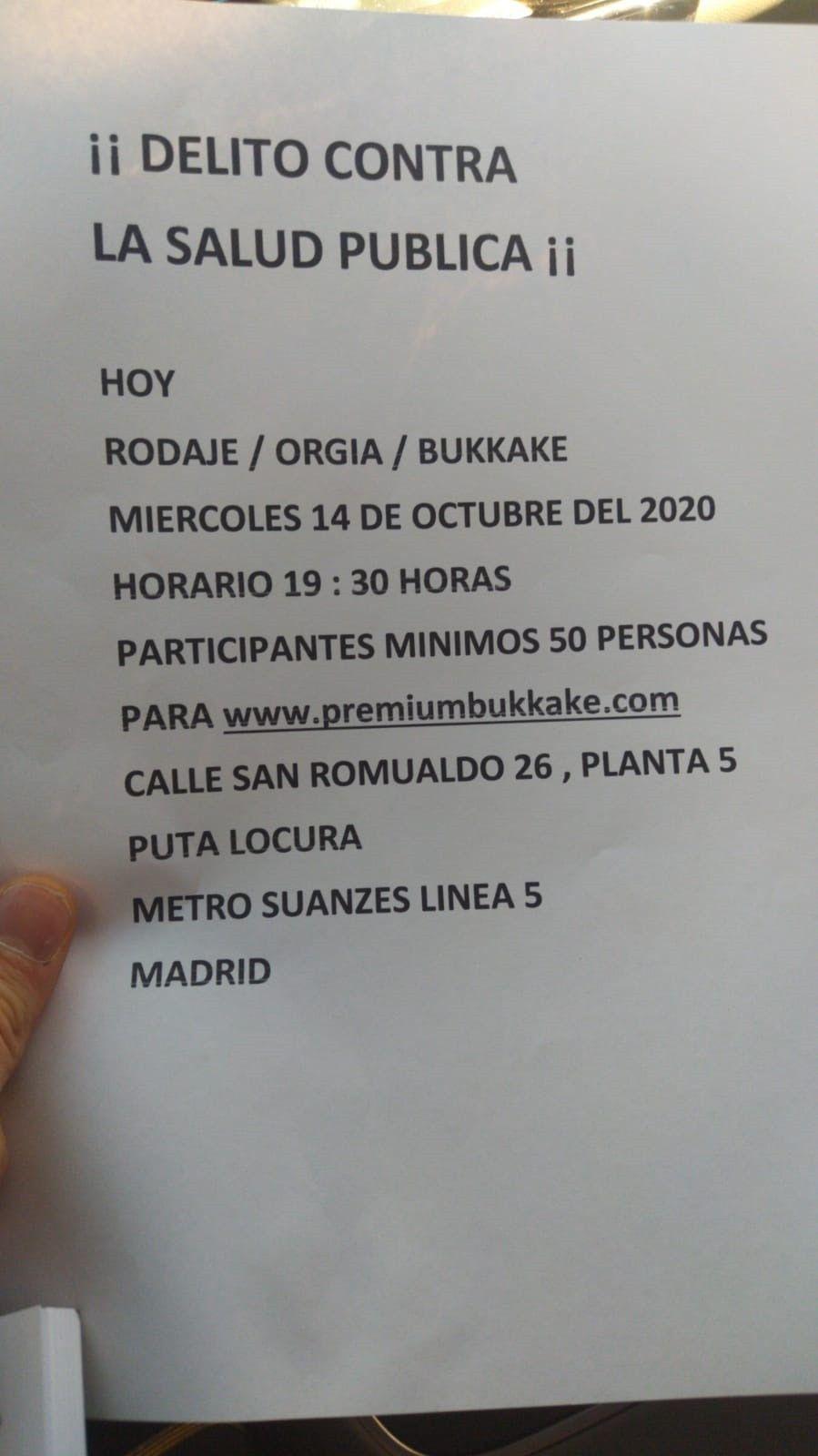 Anuncio de rodaje de 'bukake' en el que participaron 50 personas en Madrid y fueron denunciados sus tres responsables