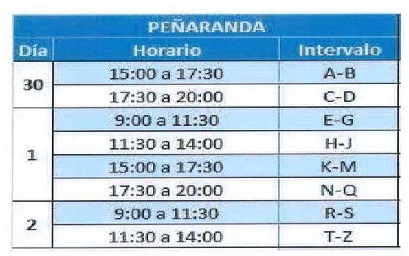 Horario penu0303aranda